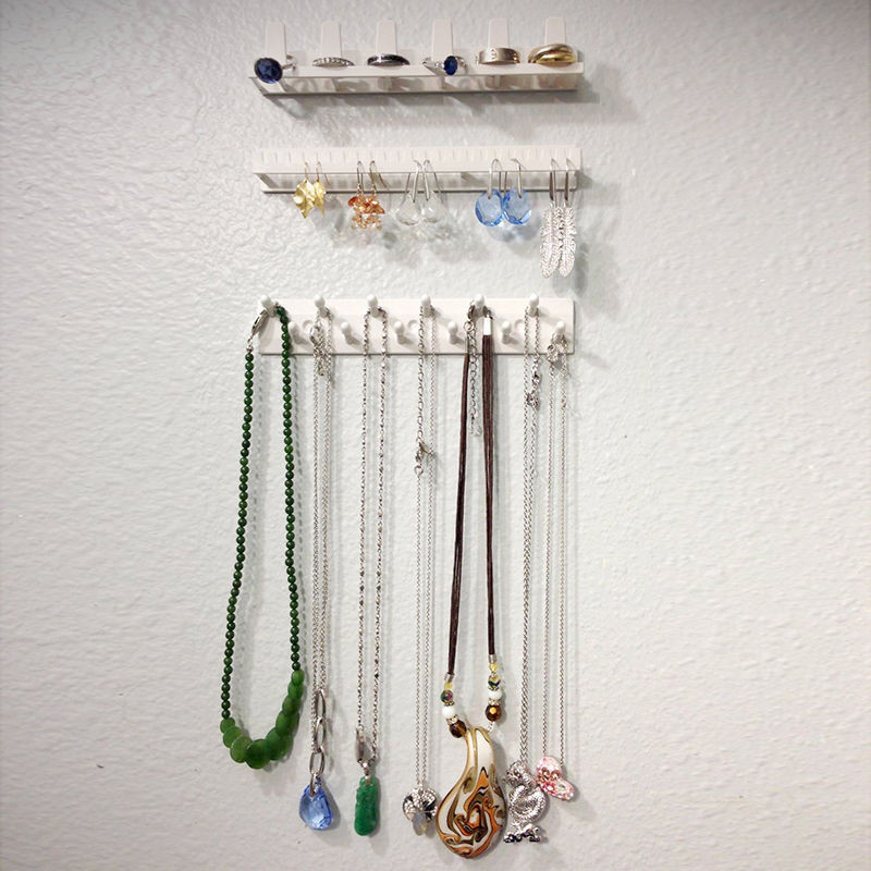 Adhesive Sticker Paste Hanging Wall Hooks Jewelry Display Jewelry Storage Organizer For Necklace Ring Earring Hook Holder Stand