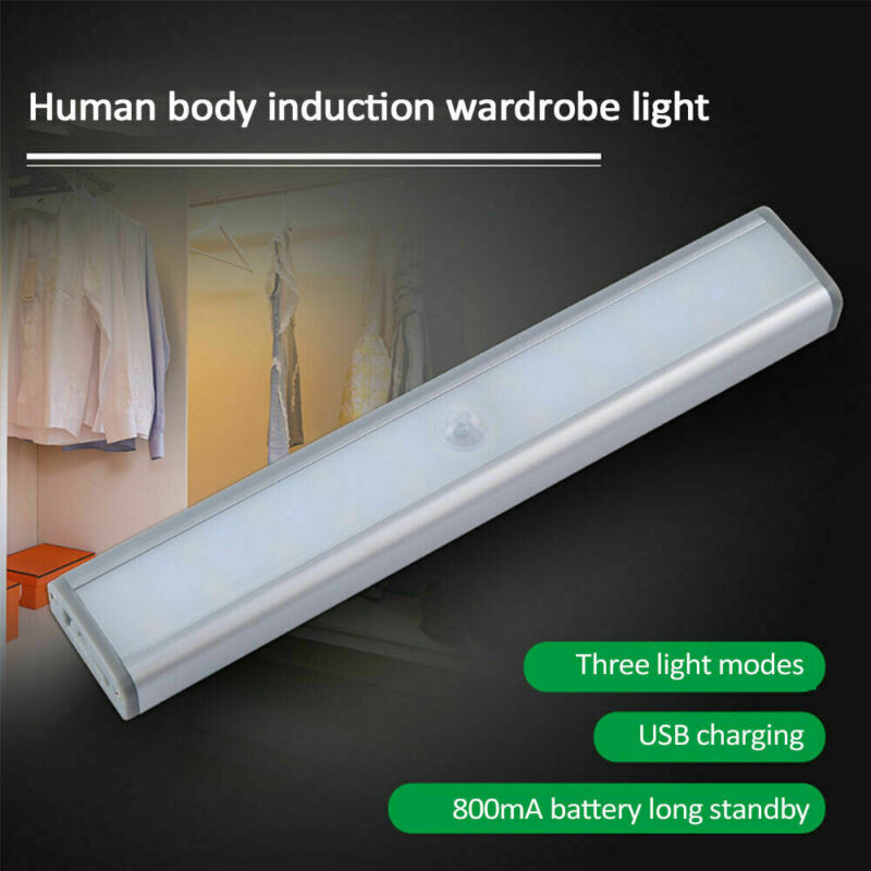 New Rechargeable 20 LED Kitchen Cupboard Shelf Counter Strip Lights Wireless Motion Sensor Closet Lights USB Under Cabinet Light