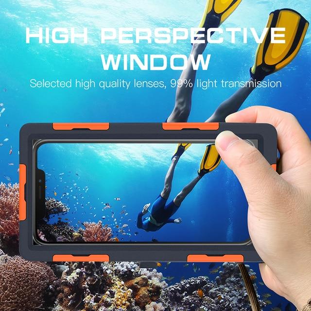 Caso de mergulho à prova dwaterproof água para iphone se 2020 12 11 pro max x 10 xs xr 7 8 6s underwater proteger caso do telefone para samsung nota 10 +