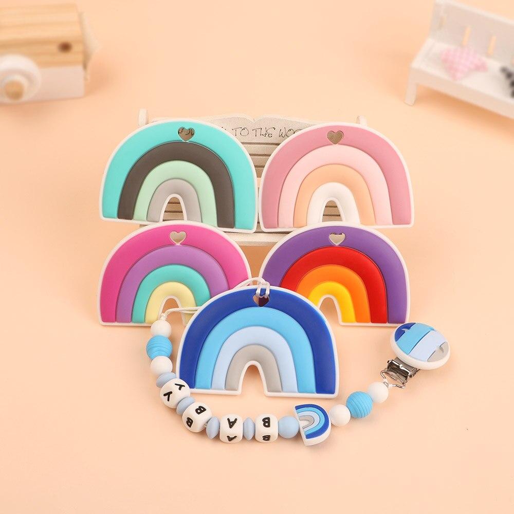 Kovict 1pcs Silicone Teethers  Cartoon Rainbow Shape BPA Free Tiny Rod Food Grade Silicone Baby Teethers Teething Toy