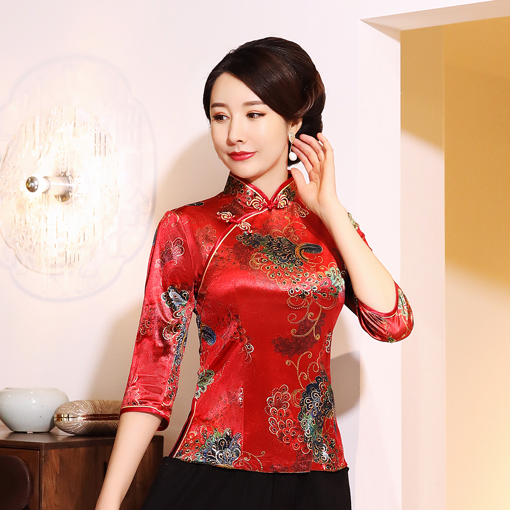 Lady Velvet Tang Clothing Plus Size 3XL-5XL Chinese Traditional Tops Retro Shirt Flower Blouse Mandarin Collar Tang Coat