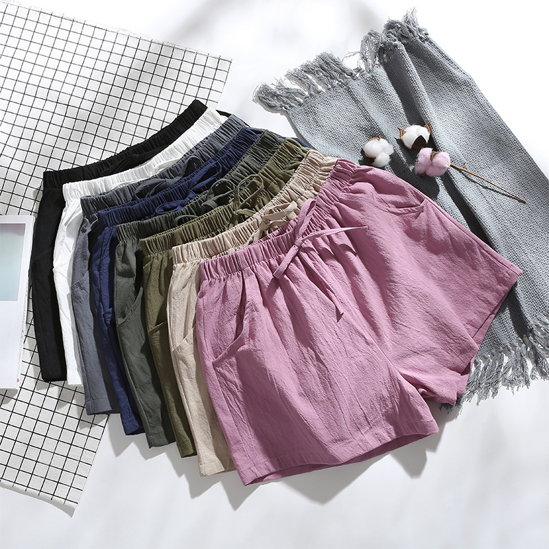 2020 Summer Cotton Linen Women New Style Fashion Hot Fashion Women Lady  Summer Casual Shorts High Waist Short Beach Bow Shorts