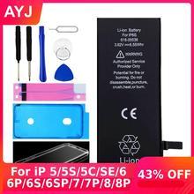 AYJ высокое качество Батарея для iPhone 6 6S 5 5S 5C SE 7 8 плюс замена с нулевым циклом набор инструментов для ремонта лента для аккумуляторов чехол