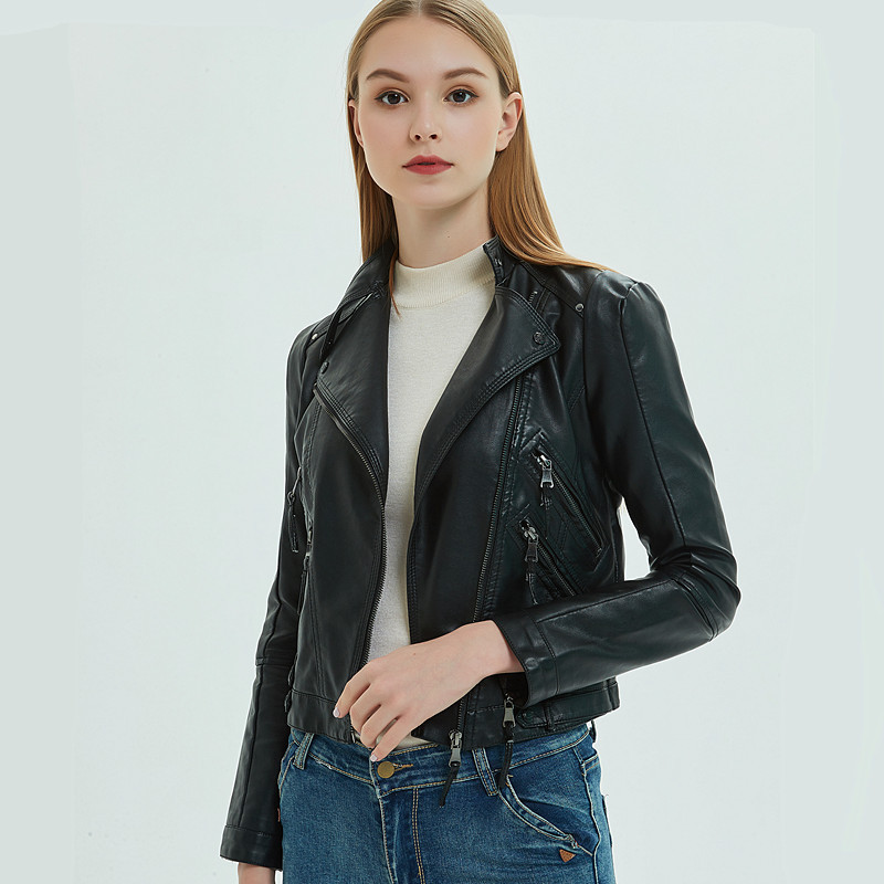 Autumn Black Faux Slim Motorcycle   Leather   Jacket Women Ladies Biker Short Zipper Soft Faux PU   Leather   Jackets Woman Fashion Coat