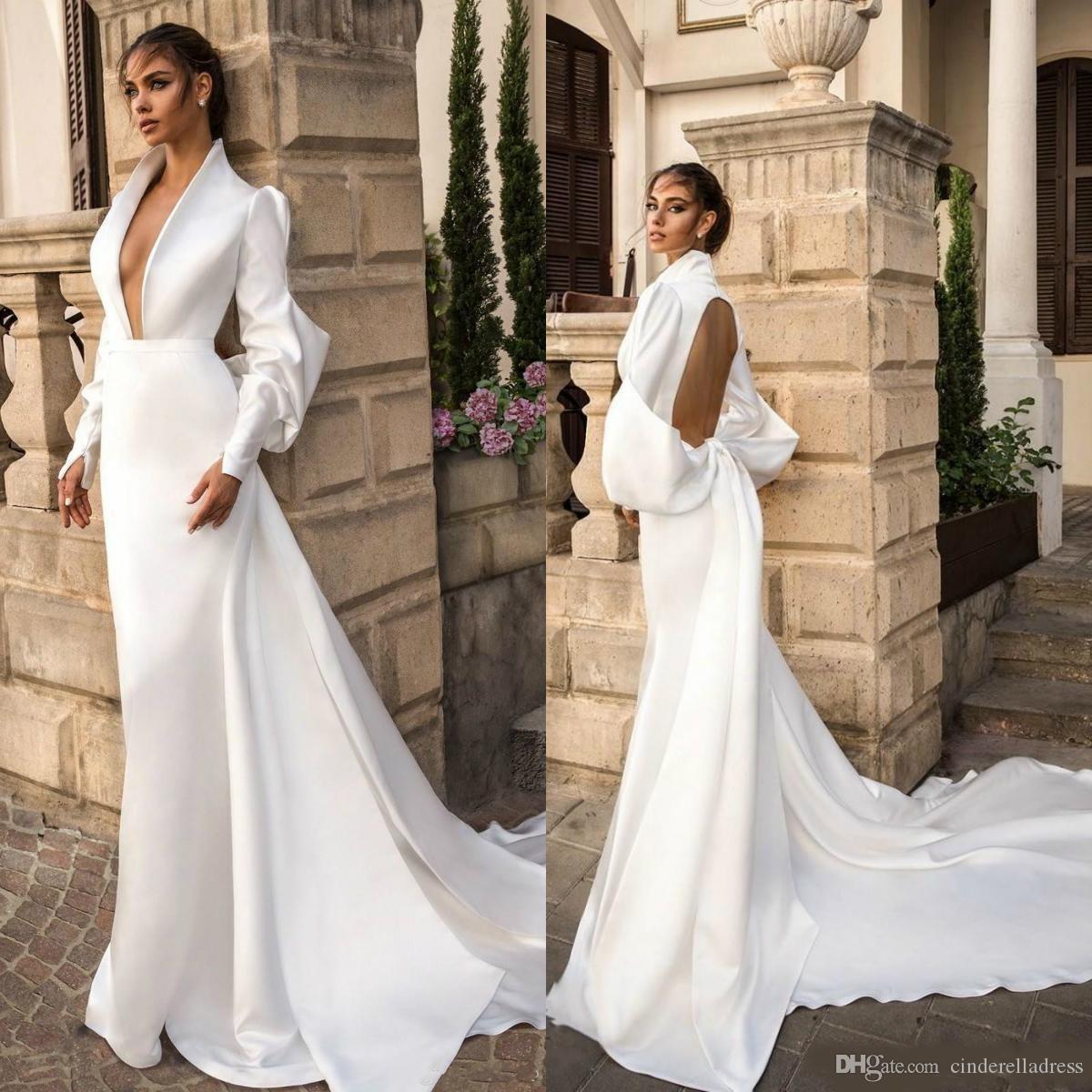 2020 White Satin Mermaid Wedding Dresses Deep V Neck Long Sleeve Garden Sweep Train Plus Size Backless Wedding Dress Bridal Gown
