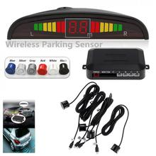 Wireless Auto Car Parktronic LED Parking Sensor System Reverse Backup Monitor Radar Detector with 4 Sensors Sound Buzzer Alarm