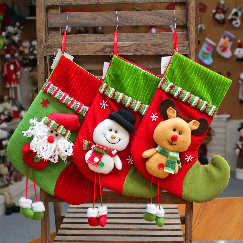 Hot selling flannel Christmas decorations pendants candy socks gift bags supplies ornaments home decor