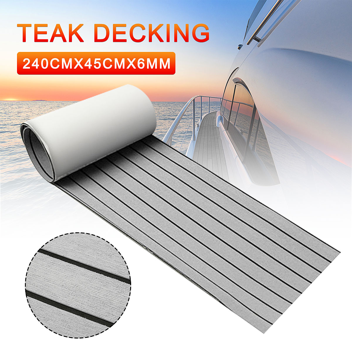 6MM Self Adhesive EVA Foam Teak Sheet Marine Boat Yacht Synthetic Decking Foam Floor Mat Flooring Grey Black 240*45cm