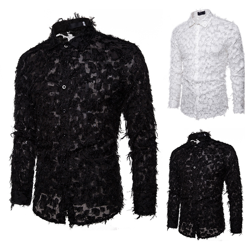 Men Fake Feather Dress Shirts Stage Performance Night Club Party Shirt 2020 Brand Slim Fit Long Sleeve Mens Brand Tops Clothes