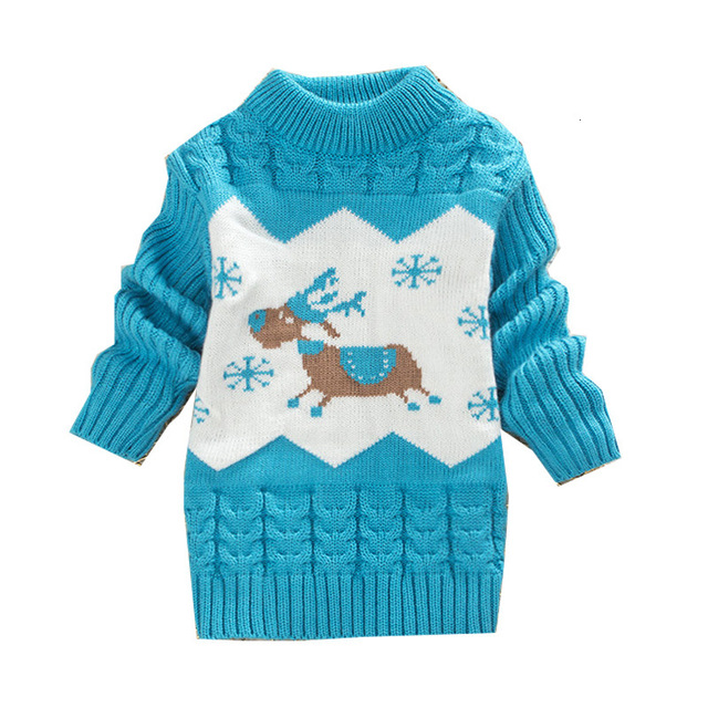 Children Christmas Sweater Girl Round Neck Sweaters Boy Little Deer Clothes 1-4 Years Baby Autumn Clothing Kids Warm Tops 5