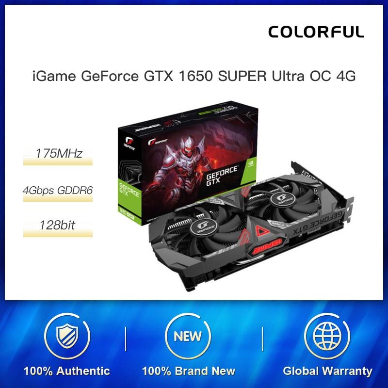الملونة iGame GeForce GTX 1650 سوبر الترا OC 4G 1530 1755MHz GDDR6 سطح المكتب الألعاب بطاقة جرافيكس|بطاقات الرسومات|   - AliExpress