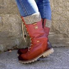 цена на New Winter Shoes Women Boots Basic Women Mid-Calf Boots Round Toe Zip Platform Decor Female Shoes Warm Lace Up Boots Shoes