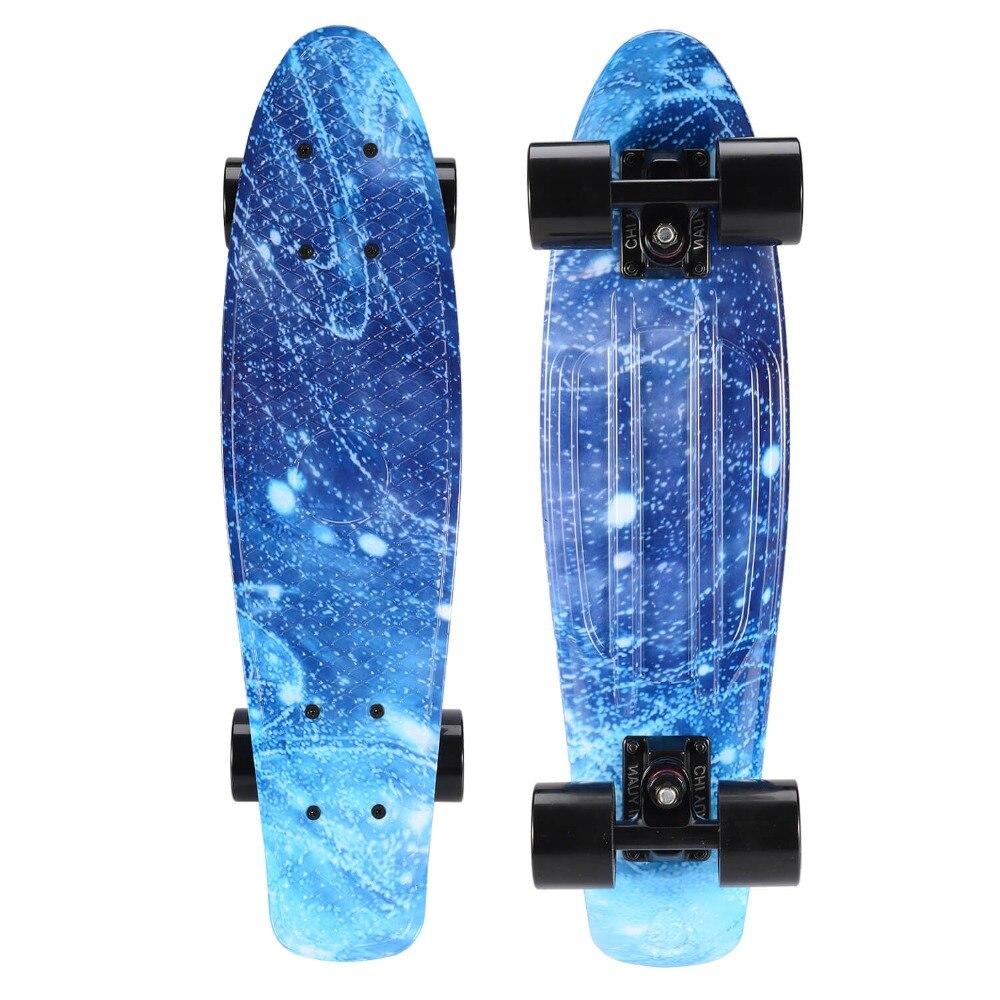 Galaxy Graphic Printed Mini Cruiser Plastic Skateboard 22