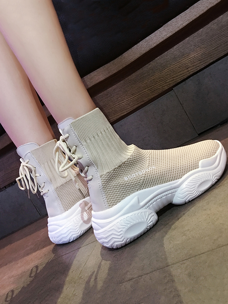 Image 4 - Ins socks shoes womens 2019 new fall student fly woven mesh face breathable muffin old dad Shoes High Top SneakersWomens Vulcanize Shoes   -