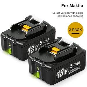 2 bateria 18 v 5.0ah para makita lxt bl1850b bl1860b bl1845 bl1815 bl1820 bl1860b bateria da ferramenta elétrica com indicador led