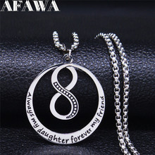AFAWA Love Infinite Loop Symbol Love to Daughter Silver Color Stainless Steel Necklaces & Pendants for Women Jewelry N108S01