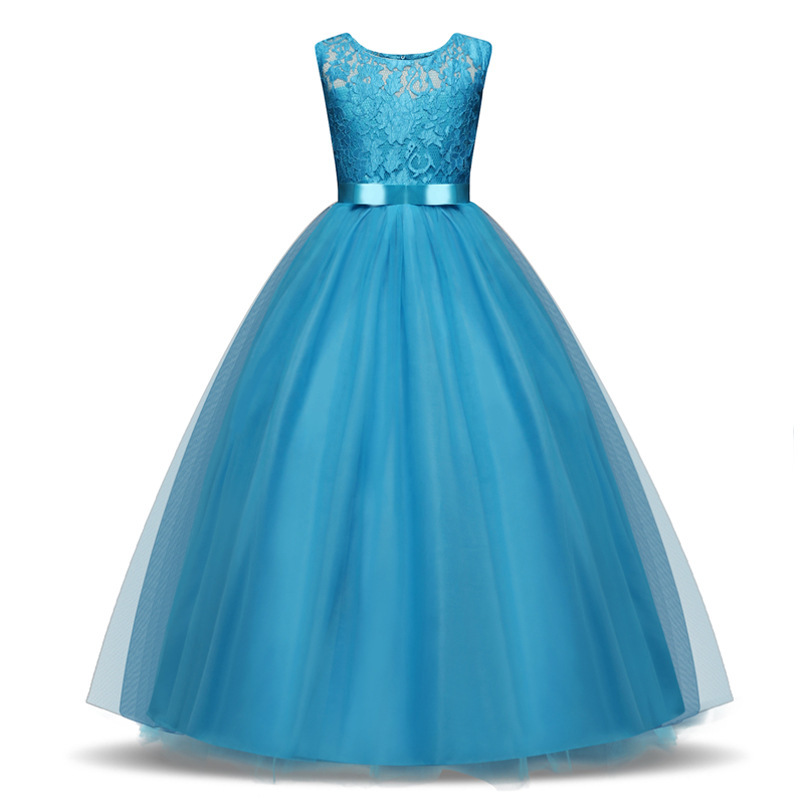 BGW Elegant Floor Length Girls Princess Dress Kids Wedding Dresses Girls Party Dress Children Clothing 4 5 6 7 8 9 10 11 12 Year