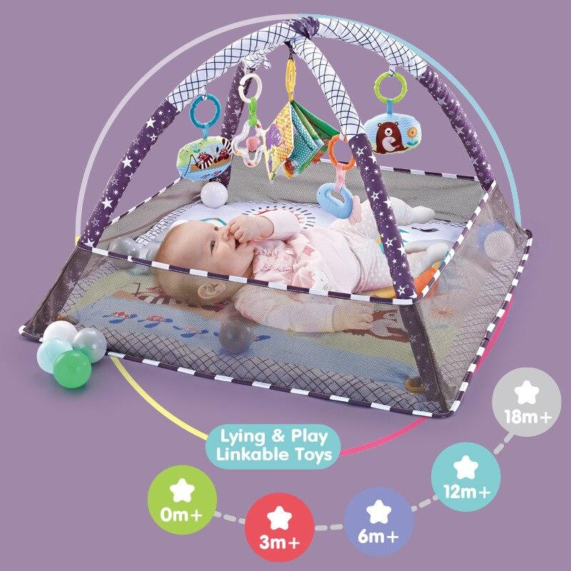 Детский игровой коврик, детский коврик с шариками, Обучающие игрушки, детский коврик для ползания и фитнеса, подарок для детей, тренажерный ...