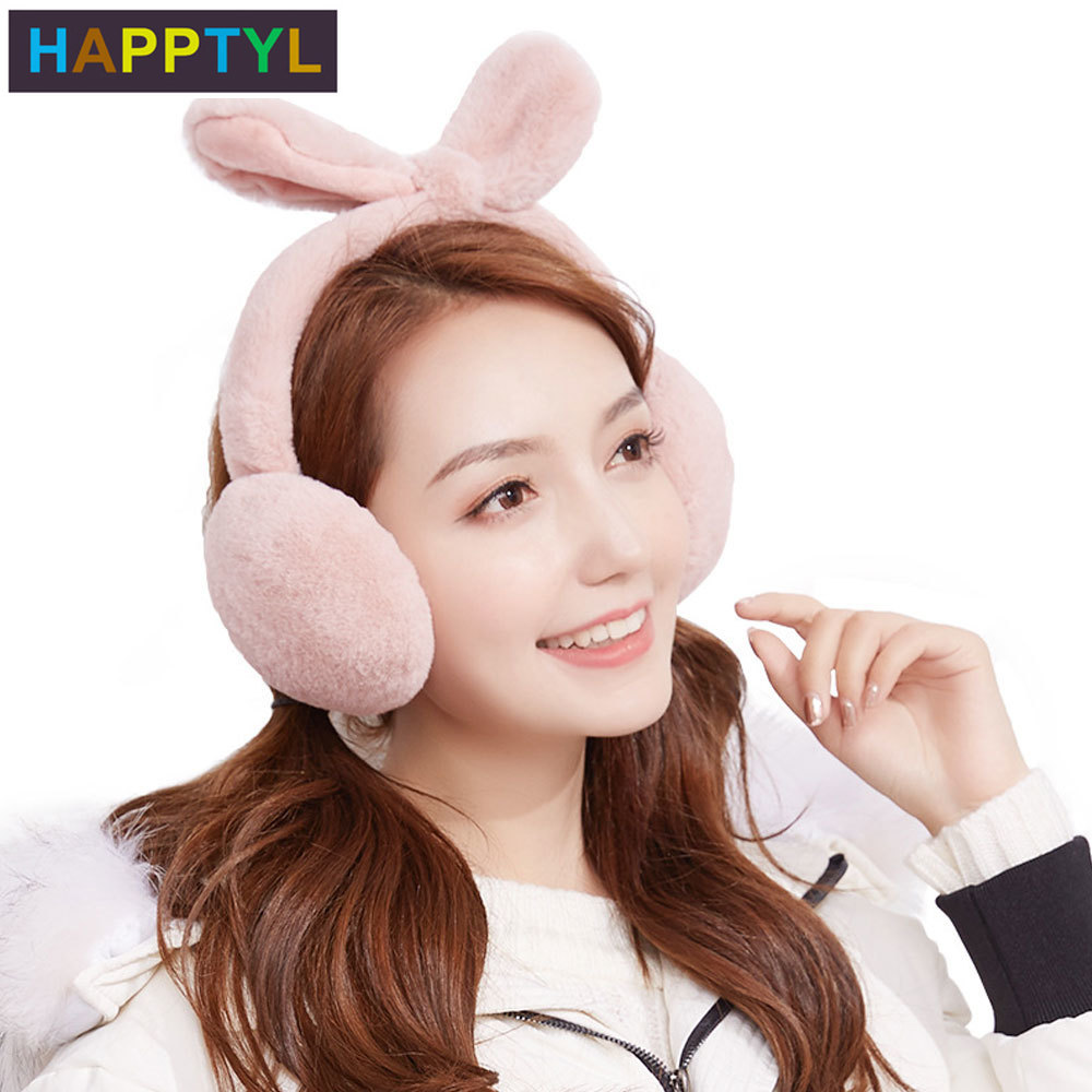 HAPPTYL 1Pcs Ladies Girls Teens Adjustable Warm Faux Plush Rabbit Earmuffs Foldable Removable