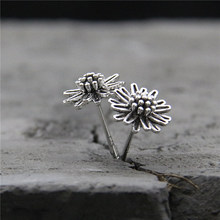 Fyla Mode Real 925 Sterling Silver Earrings Vintage Thai Daisy Flower Pure Handmade Bangkok Jewellery Boutique 8mm TYC183