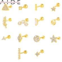 Aide minimalista 925 prata esterlina brincos para mulher piercing cartilagem brinco bonito brincos jóias pendientes plata