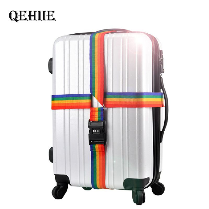 8 Colors Adjustable Password Cross Luggage Straps Travel Trolley Suitcase Safe Packing Belt Parts Items Accessories Supplies