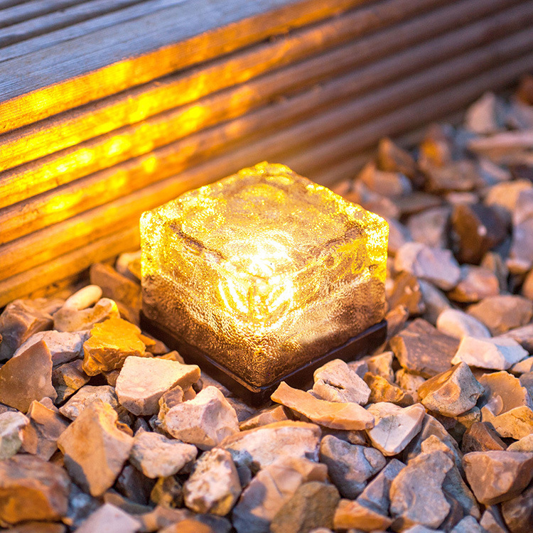 Ice Cube Path Lights Crystal Garden Lamp LED Lamp Solar Powered Ground Light Decor Light For Holiday Home Party