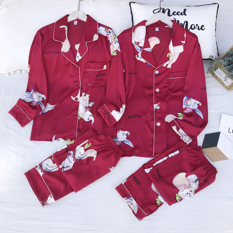 FZSLCYIYI Lovers Pajamas Couples Unisex Silk Sleepwear Soft Pyjama Sets  Women Pajama Sets Long Sleeve Men Lounge Pijamas