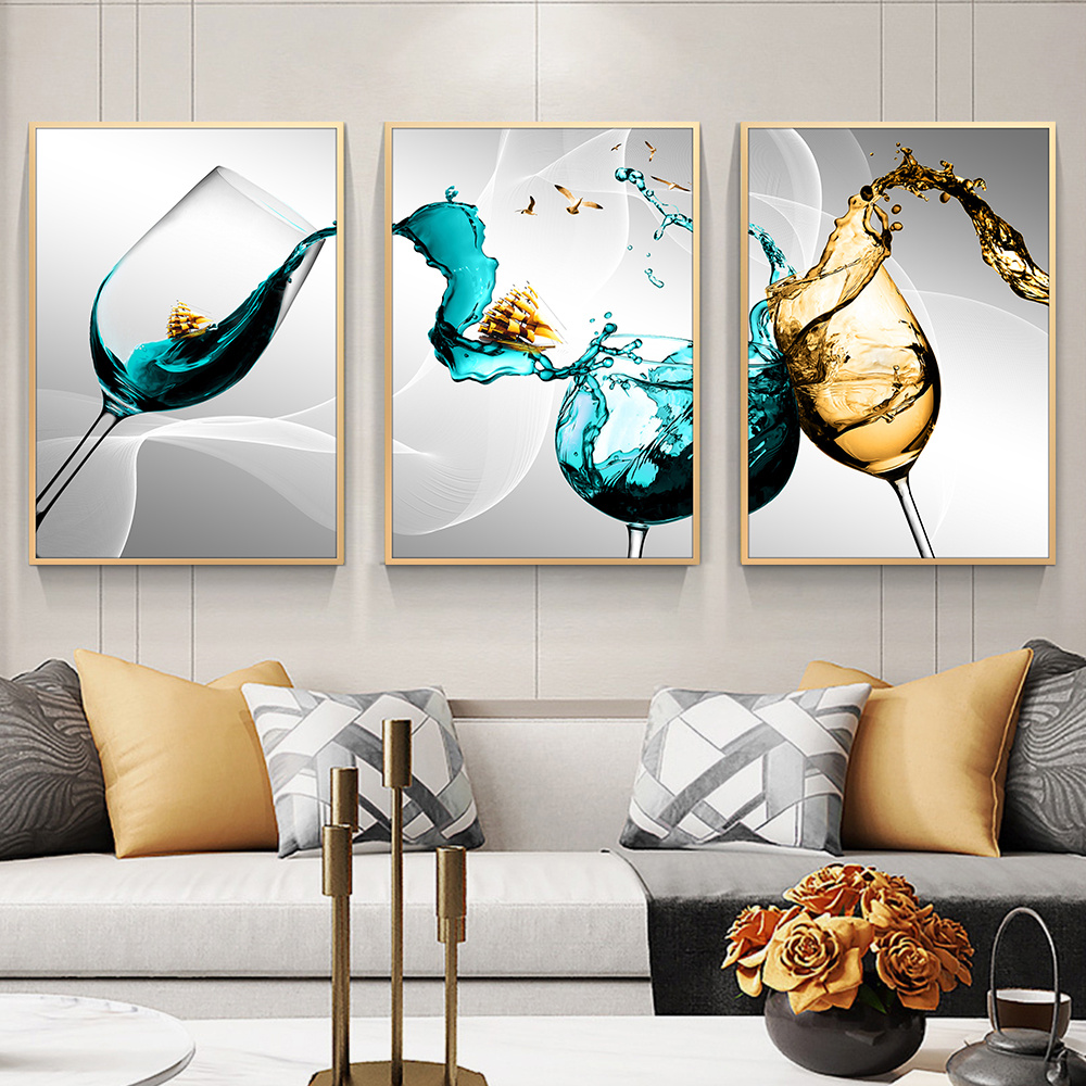 No Frame Wall Decor Glass Canvas Poster Wine Glass Art Wall Pictures For Kitchen Home Design Blue Canvas Printings Wall Art