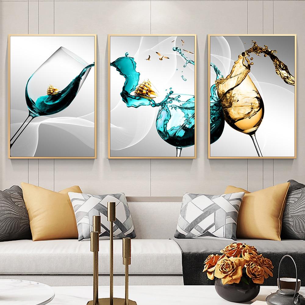 Настенный декор без рамки, стеклянный холст, постер, винный бокал, художественные настенные картины для кухни, домашний дизайн, синий холст, ...