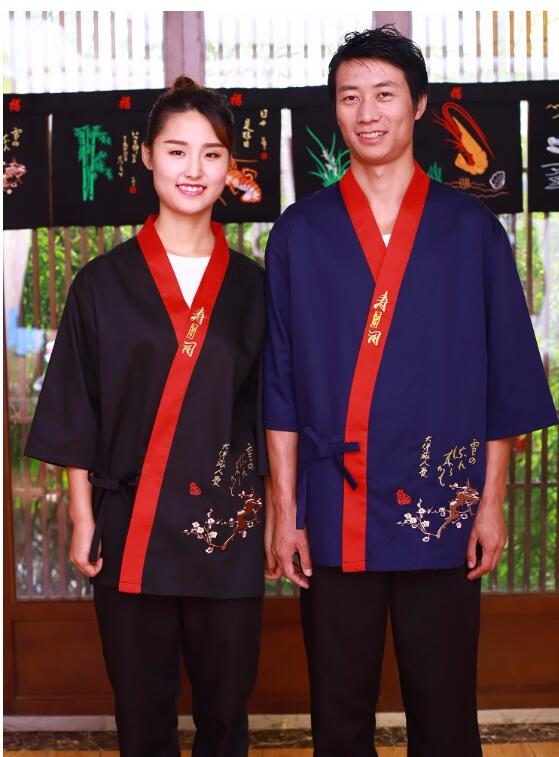Custom Unisex Japanese Style Chef Uniform Restaurant Cuisine Cook Clothes Kimono Sushi Cook Working Uniform Medium Sleeve