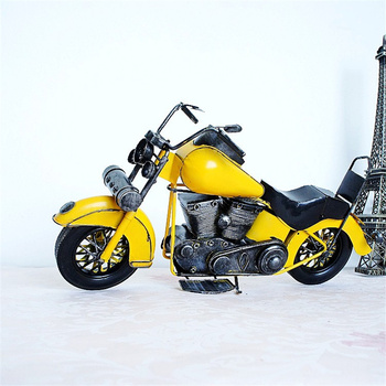 38cm Length Large Size Vintage Cool Motorcycle Model Yellow Retro Gift for Boys Vehicle Statue Miniature Toy Metal Iron YWSM63