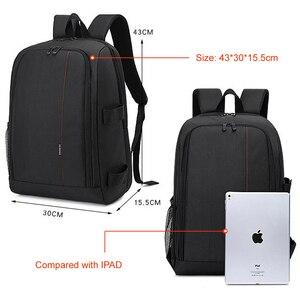 "Image 3 - Multi functional Waterproof w/ Rain Cover 15.6"" Laptop Video Case Digital DSLR Photo Padded Backpack Camera Soft Bag for SLR"