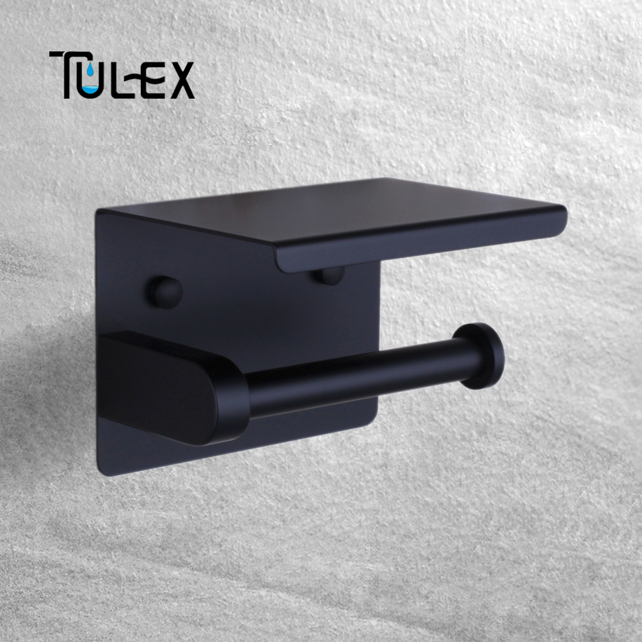 Tulex Black Toilet Paper Holder Wall Mounted With Cellphone Shelf SUS304 Stainless Steel Bathroom Accessory Toilet Roll Holder