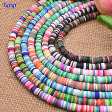 Yanqi Mix Vinyl 6x1mm Flat Round Mixed Color Polymer Clay Beads Loose Spacers Boho Disc Beads For DIY Jewelry Making Bracelet