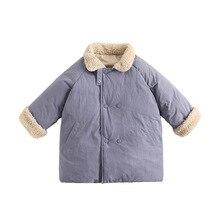Ins Winter Kids Boys Girls Warm Coat Cotton Children Lamb Fur Collar Thicken Long Jacket Japan Style Toddler Kids Outerwear Tops