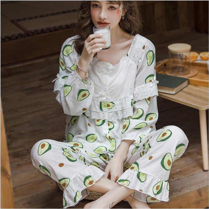 Nuove Donne di Estate Pigiama Set di Cotone Delle Signore Del Cotone Pajamas Set Maniche Lunghe Pigiama Pigiama Casual Homewear X111