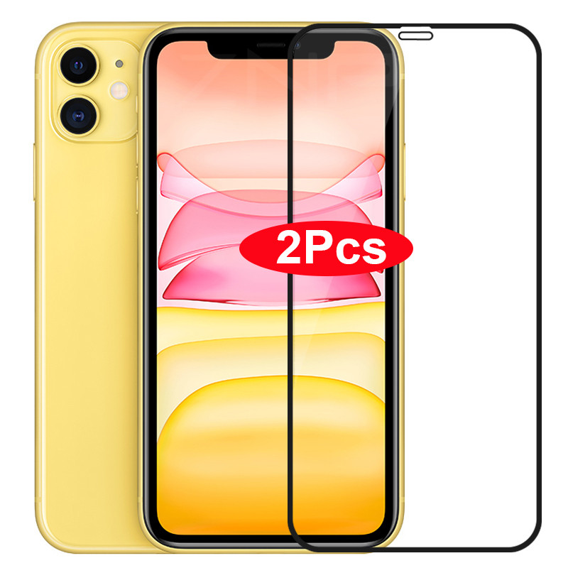2Pcs Full Cover Glass On For iPhone 11 Pro XR X XS Max Tempered Screen Protector For iPhone 7 6 6s 8 12 Plus SE 2020 11 Glass(China)