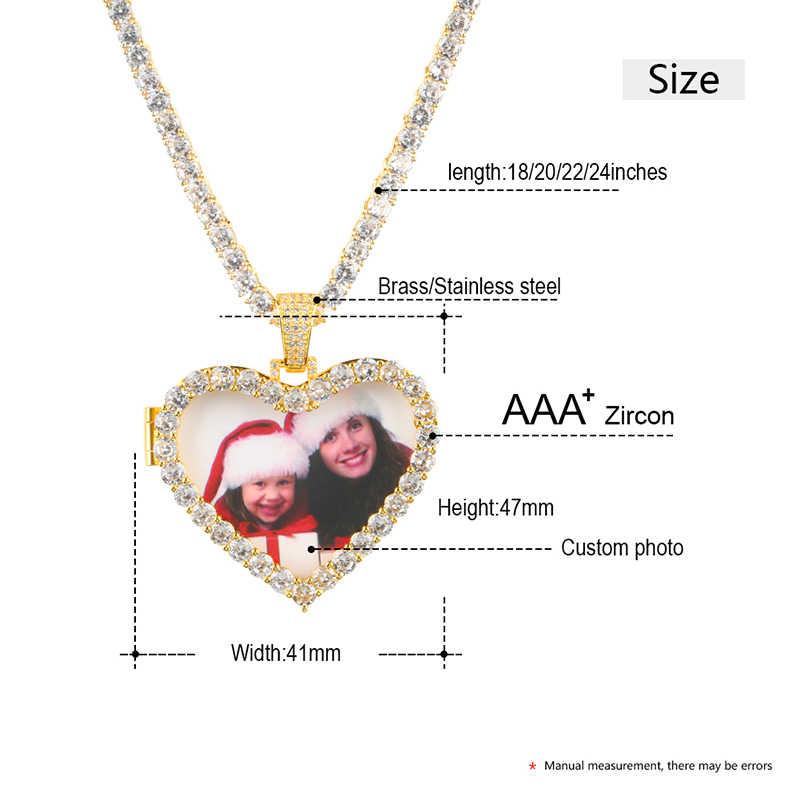 Индивидуальный заказ фото кристалл сердце медальоны ожерелье, подвеска из золота Серебряный кубический цирконий мужские хип хоп ювелирные изделия с 4 мм теннисная цепочка