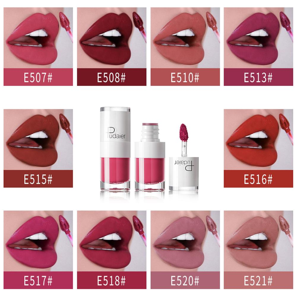 Pudaier 16 Colors Lips Makeup Lipstick Lip Gloss Long Lasting Moisture Cosmetic Lipstick Red Lip Sexy Matte Lipstick Waterproof