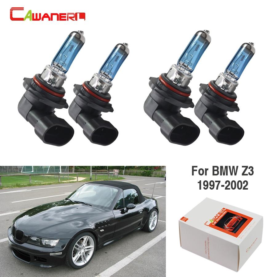 Cawanerl 4 Pieces 100W Halogen Bulb 4300K 12V Car Light Source Headlight High Low Beam For BMW Z3 1997 1998 1999 2000 2001 2002