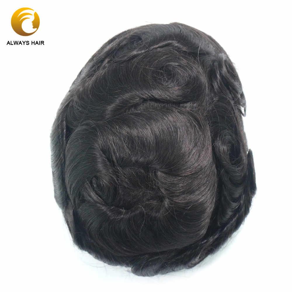 Base de piel duradera, sistema de cabello humano indio, espesor del hombre, Peluca de peluquines de PU de 0,12-0,14mm para hombres, envío gratis por Fedex