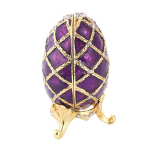 Caja de almacenamiento de joyería de forma de huevo esmaltada con forma de huevo violeta Vintage Victoriana