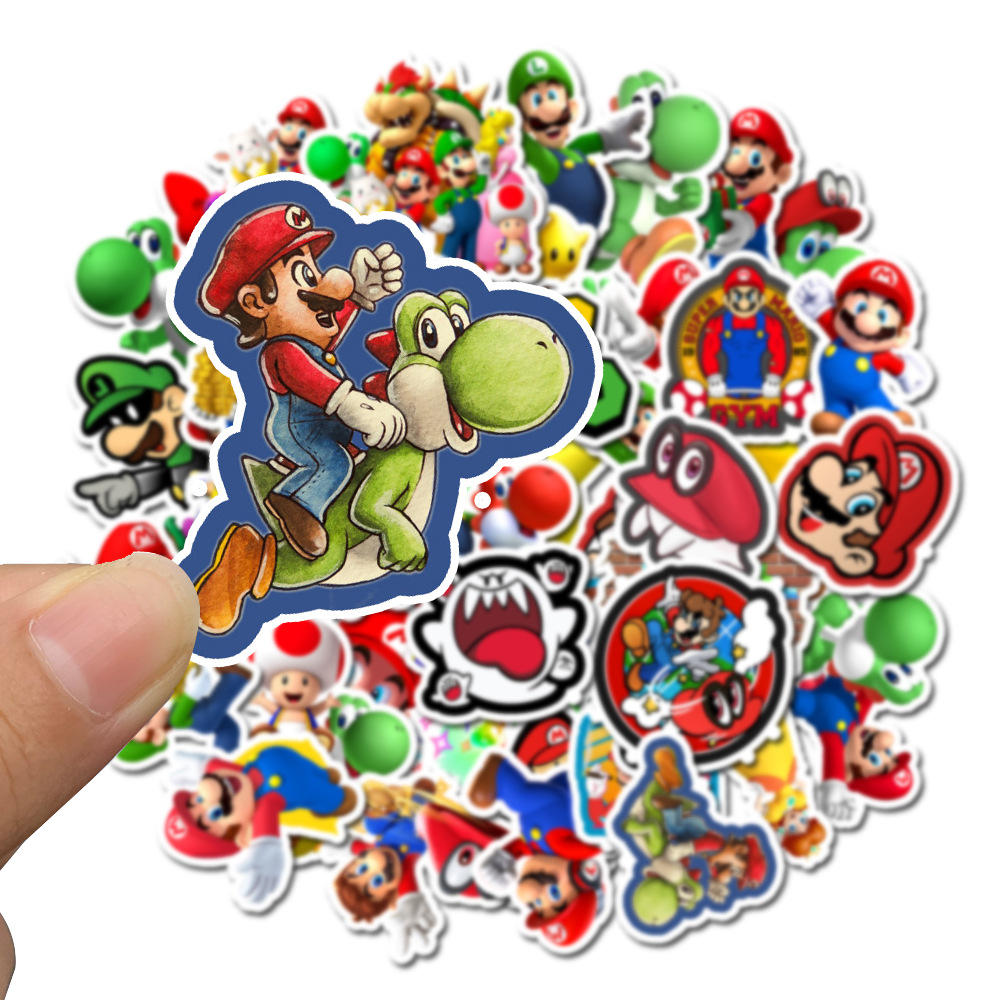 50 Pcs/pack Cartoon Game Super Mario Decorative PVC Stickers Adhesive Stickers DIY Decoration Diary Stationery Stickers
