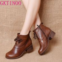 GKTINOO Genuine Leather Ankle Boots Retro Women Shoes 2020 New Autumn Winter Round Toe Square Heel Zip Cross-tied Women Boots
