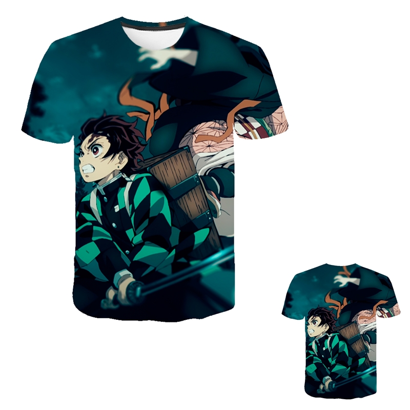 Kids Boys Devils killer T-shirts 3d Print Cosplay Japanese Ghost blade Children Summer Short Sleeve Tshirts Demon Slayer Clothes 23