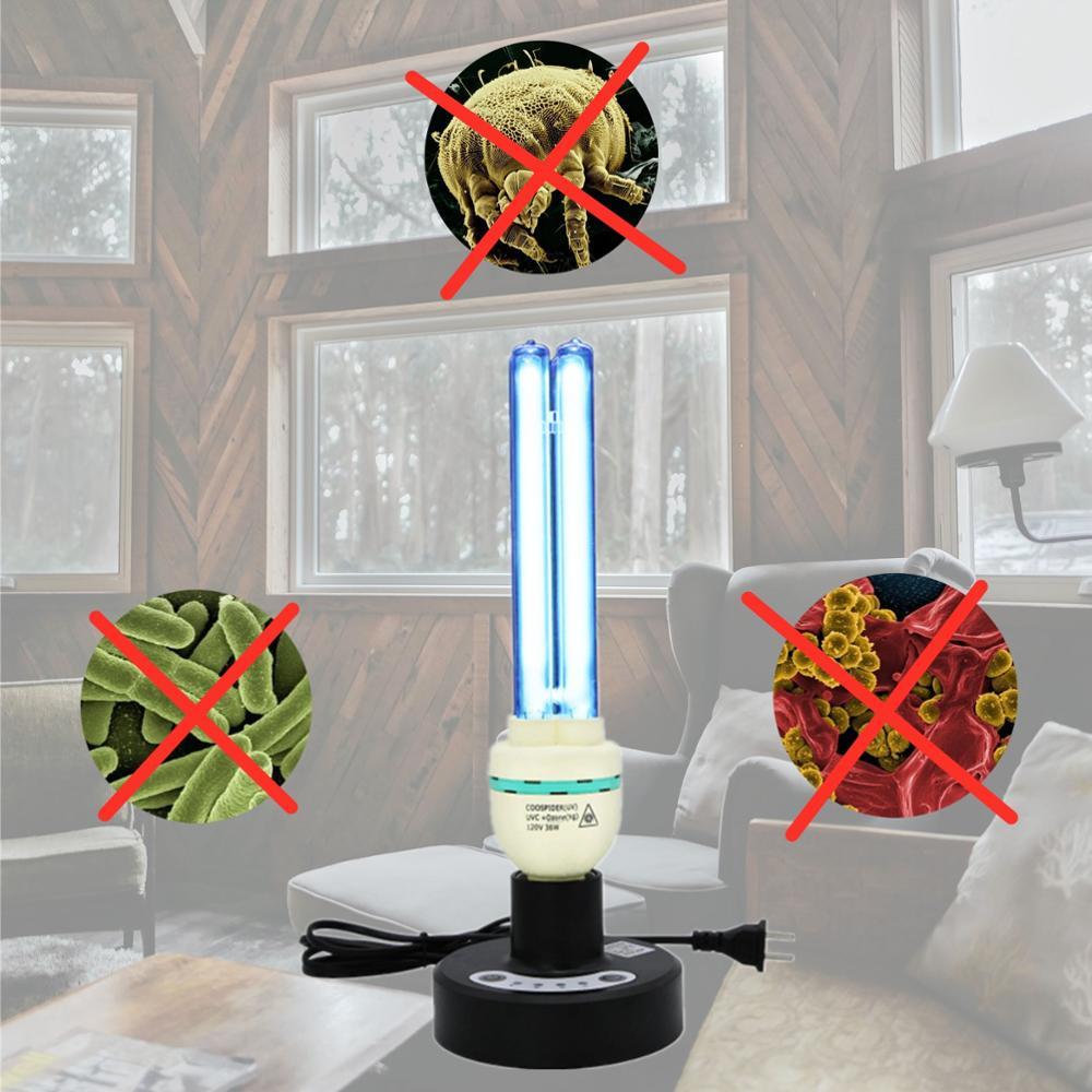 Quartz Uv Kiemdodende Tafellamp W/3 Stap Remote Timer Compact Gloeilamp 5ft 150 Cm Plug Socket 36 W Uvc Covers Tot 600sq, ft