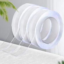 1/2/3/5m nano fita dupla face fita adesiva à prova dreágua reutilizável transparente banheiro fita adesiva limpa