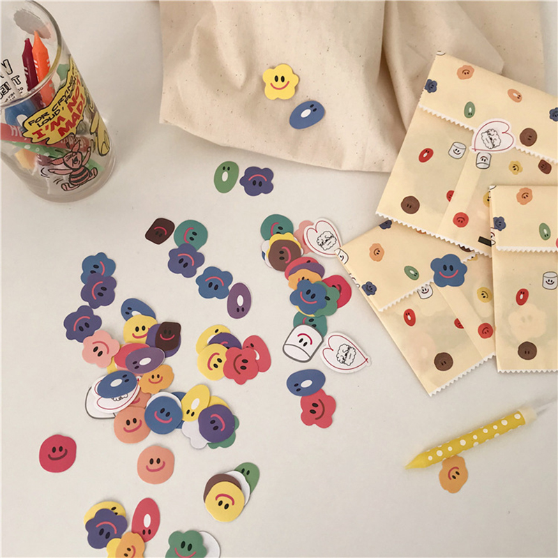110PCS New Cartoon Cute Mini Eating Smiley Sticker DIY Scrapbooking Album Diary Happy Planner Week Decoration Sticker
