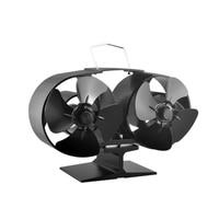 8 Blade Twin Motor Heat Powered Eco Fireplace Fan Fuel Cost Saving Aluminum Black for Wood Gas Coal Pellet Log Heaters